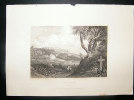 Portugal: 1834 Steel Engraving, Cork Convent, Cintra Print